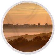 Early Morning Mist, Bradworthy, North Round Beach Towel