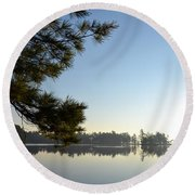 Early Morning On Lost Lake Round Beach Towel