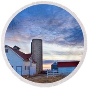 Early Morning On The Farm Round Beach Towel