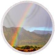 Early Morning Rainbow At Sleeping Giant Mountain Round Beach Towel