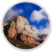 Early Morning Zion National Park Round Beach Towel