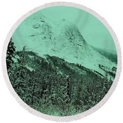 Early Snow In The Mountains  Round Beach Towel
