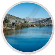 Early Snow In Vermont Round Beach Towel by Edward Fielding