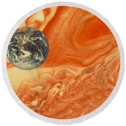 Earth And Jupiter Round Beach Towel
