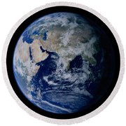 Earth From Space Showing Eastern Round Beach Towel