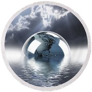 Earth Globe Reflection Round Beach Towel