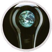 Earth In Light Bulb  Round Beach Towel