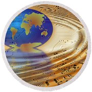 Earth In The Printed Circuit Round Beach Towel by Michal Boubin