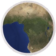 Earth Showing Landcover Over Africa Round Beach Towel by Stocktrek Images
