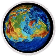Earth: Topography Round Beach Towel
