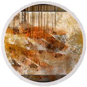 Earthtones Abstract Round Beach Towel
