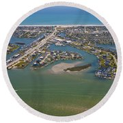 East Coast Aerial Round Beach Towel
