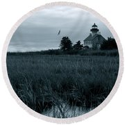 East Point Light Before The Storm  Round Beach Towel