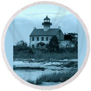 East Point Light In The Clouds Round Beach Towel