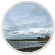 East Point Light Still Shines  Round Beach Towel
