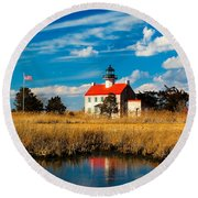 East Point Lighthouse Reflection Round Beach Towel