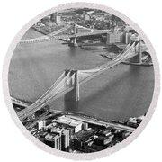East River Bridges New York Round Beach Towel