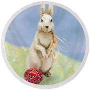 Easter Bunny With A Painted Egg Round Beach Towel