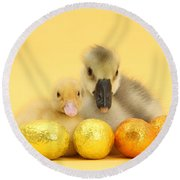 Easter Duckling And Gosling Round Beach Towel