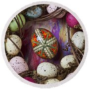 Easter Egg With Wreath Round Beach Towel