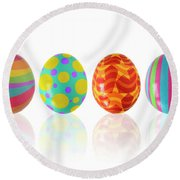 Easter Eggs Round Beach Towel