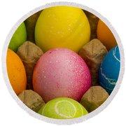 Easter Eggs Carton 2 A Round Beach Towel