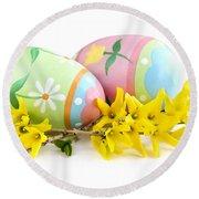 Easter Eggs Round Beach Towel by Elena Elisseeva