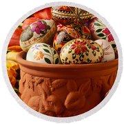 Easter Eggs In Flower Pot Round Beach Towel