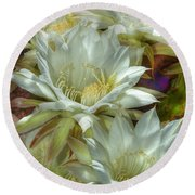 Easter Lily Cactus Bouquet Hdr Round Beach Towel