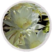 Easter Lily Cactus Bouquet Round Beach Towel