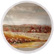 Eastern Townships Quebec Painting Round Beach Towel by Carole Spandau