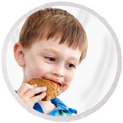 Eating Biscuit Round Beach Towel