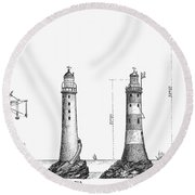 Eddystone Lighthouse Round Beach Towel