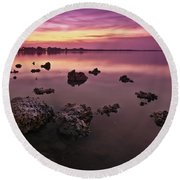 Edge Of A New Day Round Beach Towel