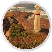 Edwardian Lady By The Sea Round Beach Towel
