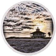 Eerie Lighthouse Round Beach Towel