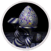 Egg And Goblet Round Beach Towel