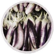 Egg Plant Round Beach Towel