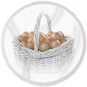 Eggs In A Woven Basket No.0064 Round Beach Towel
