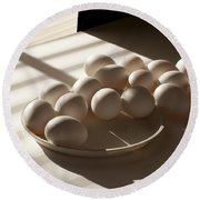 Eggs Lit Through Venetian Blinds Round Beach Towel