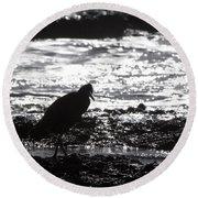 Egret Silhouette  Round Beach Towel