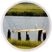 Egrets In The Salt Marsh Round Beach Towel