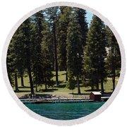 Ehrman Mansion Lake Tahoe Round Beach Towel