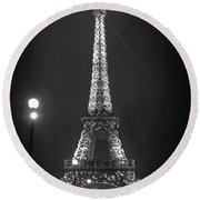 Eiffel By Night Round Beach Towel