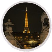 Eiffel Tower And The Seine River From Pont Alexandre At Night Round Beach Towel