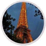 Eiffel Tower At Night Round Beach Towel