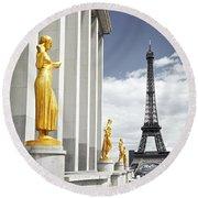 Eiffel Tower From Trocadero Round Beach Towel