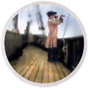 Eighteenth Century Man With Spyglass On Ship Round Beach Towel