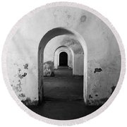 El Morro Fort Barracks Arched Doorways San Juan Puerto Rico Prints Black And White Round Beach Towel