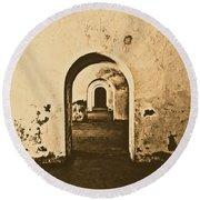 El Morro Fort Barracks Arched Doorways San Juan Puerto Rico Prints Rustic Round Beach Towel
